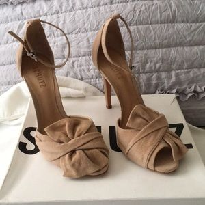 Tan Suede Ankle-Strapped Heels
